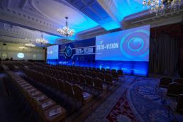 A stage set for a conference event at the Landmark Hotel London