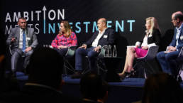 Presenters on stage at a corporate conference at Ham Yard Hotel, London