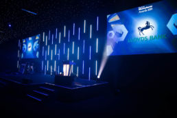 A stage set for an awards ceremony at Battersea Evolution in London.