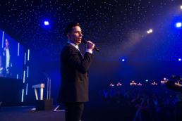 A singer performer at an awards ceremony at Battersea Evolution in London