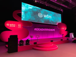 A large stage event production at a conference at World Travel Market, ExCel London.
