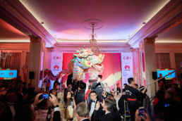 A Chinese Dragon Dance at a gala dinner in Mandarin Oriental Hyde Park in London